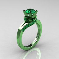 Classic Military 14K Green Gold 1.0 Ct Emerald Designer Solitaire Ring R259-14KGGEM-1