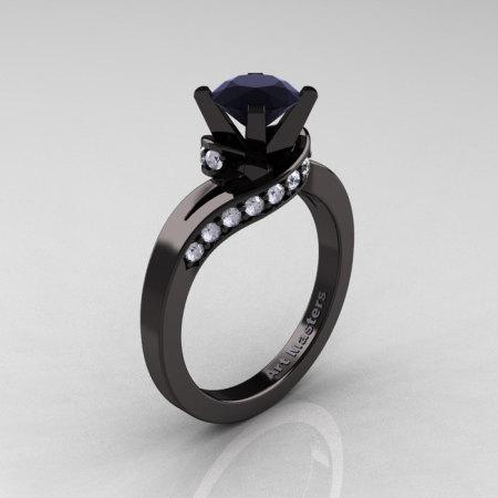 Classic 14K Black Gold 1.0 Ct Black and White Diamond Designer Solitaire Ring R259-14KBGDBD-1
