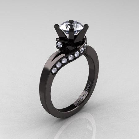 Classic 14K Black Gold 1.0 Ct White Sapphire Diamond Designer Solitaire Ring R259-14KBGDWS-1