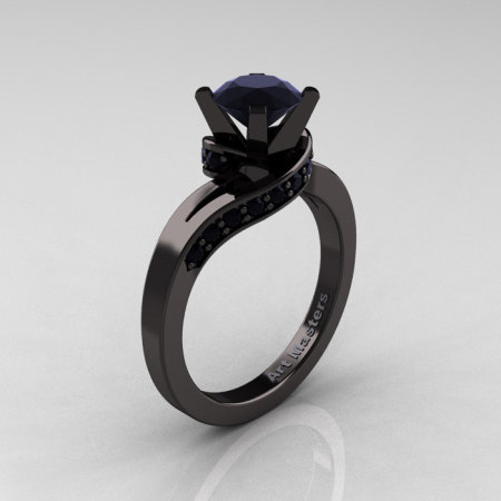 Classic 14K Black Gold 1.0 Ct Black Diamond Designer Solitaire Ring R259-14KBGBD-1
