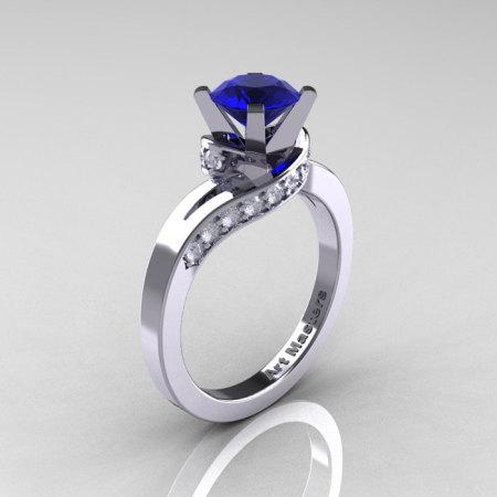 Classic 14K White Gold 1.0 Ct Blue Sapphire Diamond Designer Solitaire Ring R259-14KWGDBS-1