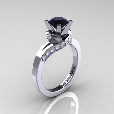 Classic 14K White Gold 1.0 Ct Black and White Diamond Designer Solitaire Ring R259-14KWGDBD-1