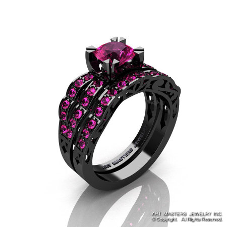 Modern Vintage 14K Black Gold 1.0 Carat Pink Sapphire Solitaire and Wedding Band Bridal Set R322S-14KBGPS-1