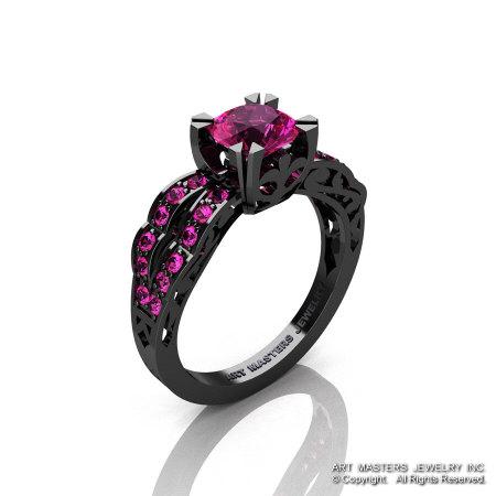 Modern Vintage 14K Black Gold 1.0 Carat Pink Sapphire Solitaire Ring R322-14KBGPS-1