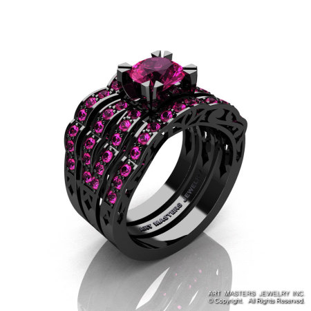 Modern Vintage 14K Black Gold 1.0 Carat Pink Sapphire Solitaire Ring Double Wedding Band Bridal Set R322S2-14KBGPS-1