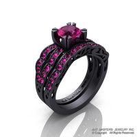 Modern Vintage 14K Matte Black Gold 1.0 Ct Pink Sapphire Solitaire Wedding Band Bridal Set R322S-14KMBGPS-1