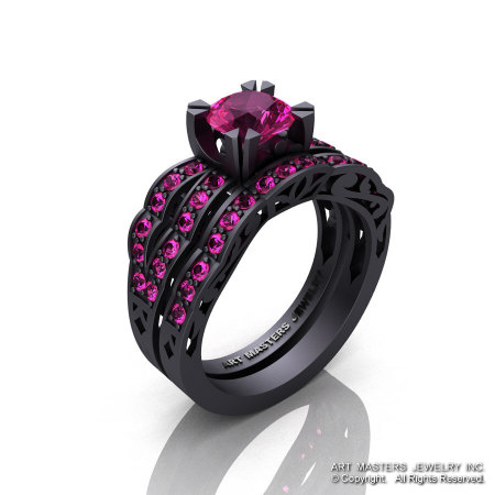Modern Vintage 14K Matte Black Gold 1.0 Ct Pink Sapphire Solitaire Wedding Band Bridal Set R322S-14KMBGPS-1