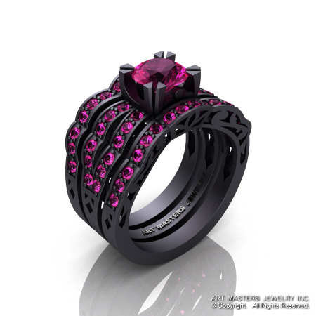 Modern Vintage 14K Matte Black Gold 1.0 Ct Pink Sapphire Solitaire Ring Double Wedding Band Bridal Set R322S2-14KMBGPS-1