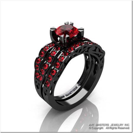 Modern Vintage 14K Black Gold 1.0 Ct Rubies Solitaire Ring Wedding Band Bridal Set R322S-14KBGR-1