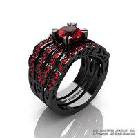 Modern Vintage 14K Black Gold 1.0 Ct Rubies Solitaire Ring Double Wedding Band Bridal Set R322S2-14KBGR-1