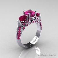 Classic 14K White Gold Three Stone Pink Sapphire Garnet Solitaire Ring R200-14KWGGPS-1