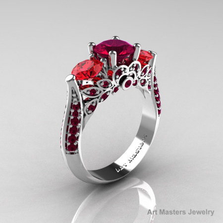 Classic 10K White Gold Three Stone Red Garnet Rubies Solitaire Ring R200-10KWGRGR-1