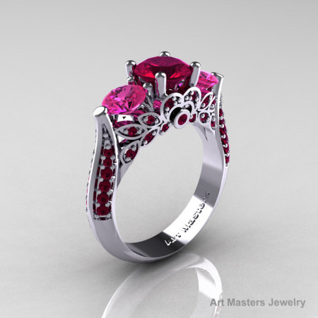 Classic 10K White Gold Three Stone Red Garnet Pink Sapphire Solitaire Ring R200-10KWGPSRG-1