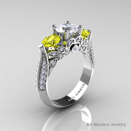 Classic 14K White Gold Three Stone White and Yellow Sapphire Diamond Solitaire Ring R200-14KWGDYSWS-1