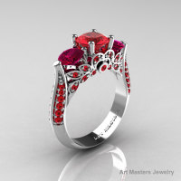 Classic 14K White Gold Three Stone Rubies Red Garnet Solitaire Ring R200-14KWGRGR-1