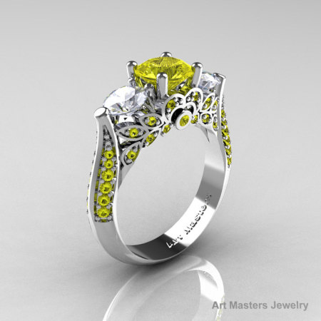 Classic 10K White Gold Three Stone Yellow and White Sapphire Solitaire Ring R200-10KWGWSYS-1