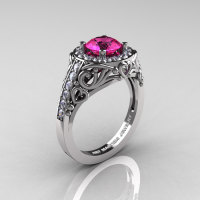 Italian 14K White Gold 1.0 Ct Pink Sapphire Diamond Engagement Ring Wedding Ring R280-14KWGDPS-1
