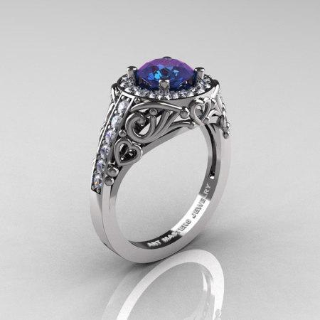 Italian 14K White Gold 1.0 Ct Color Change Alexandrite Diamond Engagement Ring Wedding Ring R280-14KWGDAL-1
