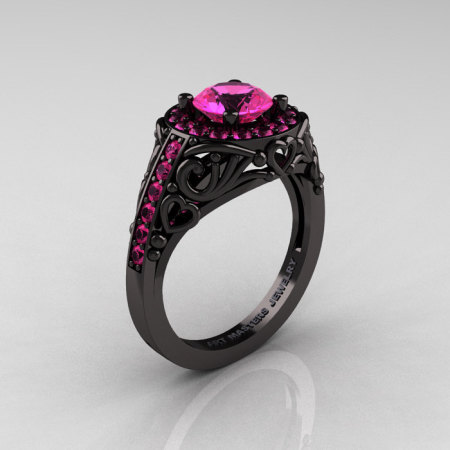 Italian 14K Black Gold 1.0 Ct Pink Sapphire Engagement Ring Wedding Ring R280-14KBGPS-1