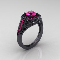 Italian 14K Matte Black Gold 1.0 Ct Pink Sapphire Engagement Ring Wedding Ring R280-14KMBGPS-1