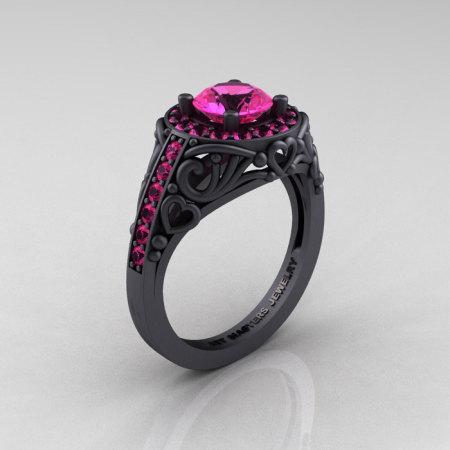 Italian 14K Matte Black Gold 1.0 Ct Pink Sapphire Engagement Ring Wedding Ring R280-14KMBGPS-1