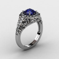 Italian 950 Platinum 1.0 Ct Blue Sapphire Diamond Engagement Ring Wedding Ring R280-PLATDBS-1