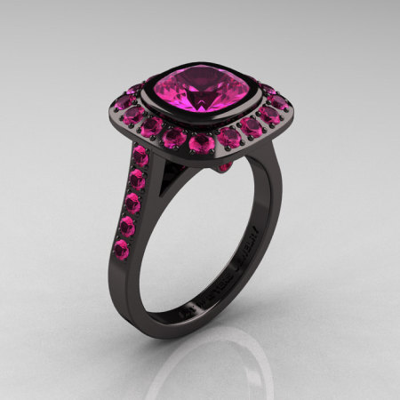Legacy 14K Black Gold 2.0 Ct Cushion Pink Sapphire Engagement Ring R60E-14KBGPS-1