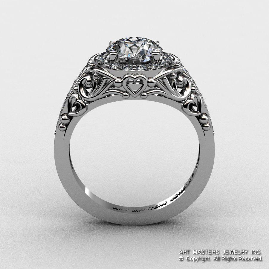 Italian 14k White Gold 1 0 Ct White Sapphire Diamond