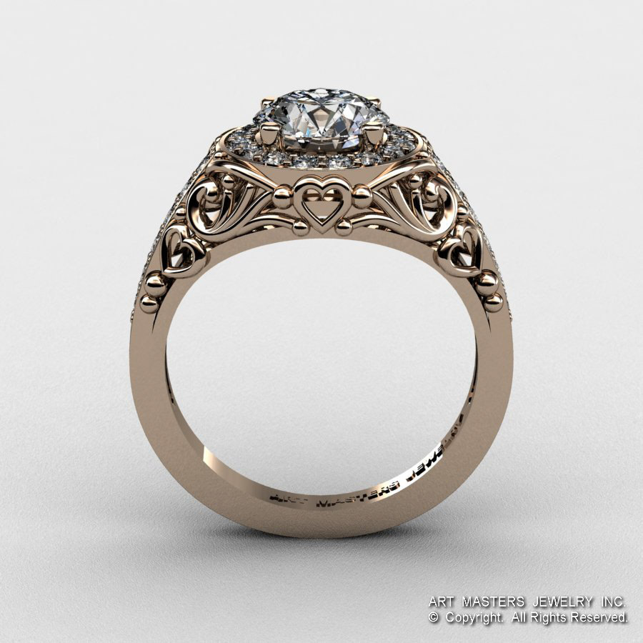 Diamond Enement Ring | Italian 14k Rose Gold 1 0 Ct Cubic Zirconia Diamond Engagement Ring