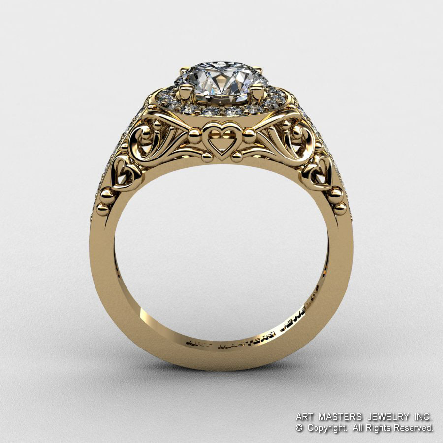 Italian 14K Yellow Gold 1 0 Ct Cubic Zirconia Diamond Engagement Ring Wedding