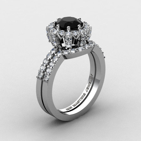 French 14K White Gold 1.0 Ct Black and White Diamond Engagement Ring Wedding Band Set R408S-14KWGDBD-1