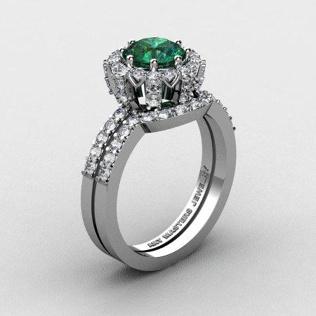 French 14K White Gold 1.0 Ct Chatham Emerald Diamond Engagement Ring Wedding Band Set R408S-14KWGDCEM-1