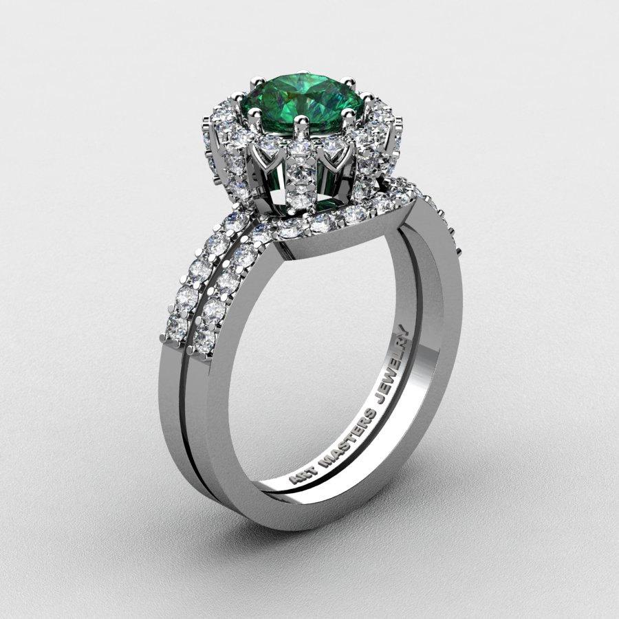 14k white gold 1 0 ct chatham emerald