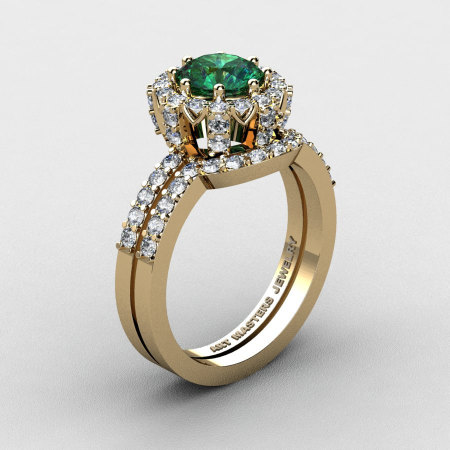 French 14K Yellow Gold 1.0 Ct Chatham Emerald Diamond Engagement Ring Wedding Band Set R408S-14KYGDCEM-1