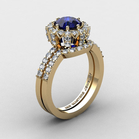 French 14K Yellow Gold 1.0 Ct Blue Sapphire Diamond Engagement Ring Wedding Band Set R408S-14KYGDBS-1