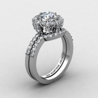 French 14K White Gold 1.0 Ct White Sapphire Diamond Engagement Ring Wedding Band Set R408S-14KWGDWS-1