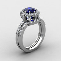 French 14K White Gold 1.0 Ct Blue Sapphire Diamond Engagement Ring Wedding Band Set R408S-14KWGDBS-1