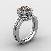 French 14K White Gold 1.0 Ct Smoky Quartz Diamond Engagement Ring Wedding Band Set R408S-14KWGDSQ-1
