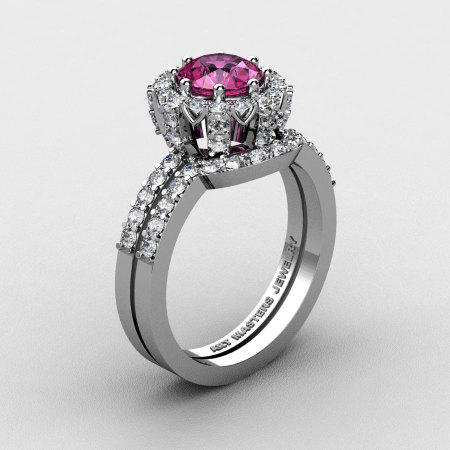 French 14K White Gold 1.0 Ct Pink Sapphire Diamond Engagement Ring Wedding Band Set R408S-14KWGDPS-1