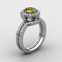 French 14K White Gold 1.0 Ct Yellow Sapphire Diamond Engagement Ring Wedding Band Set R408S-14KWGDYS-1