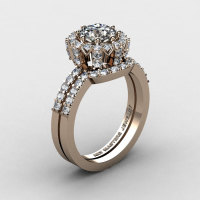 French 14K Rose Gold 1.0 Ct White Topaz Engagement Ring Wedding Band Set R408S-14KRGDWT-1