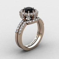 French 14K Rose Gold 1.0 Ct Black and White Diamond Engagement Ring Wedding Band Set R408S-14KRGDBD-1
