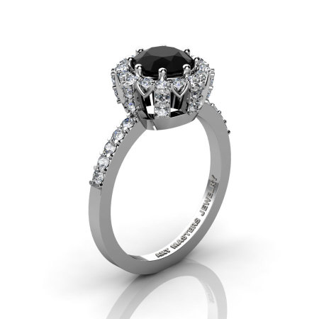 Classic Bridal 14K White Gold 1.0 Ct Black and White Diamond Solitaire Ring R408-14KWGDBD-1