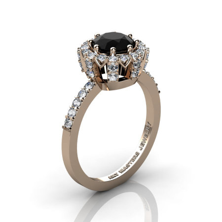 Classic Bridal 14K Rose Gold 1.0 Ct Black and White Diamond Solitaire Ring R408-14KRGDBD-1