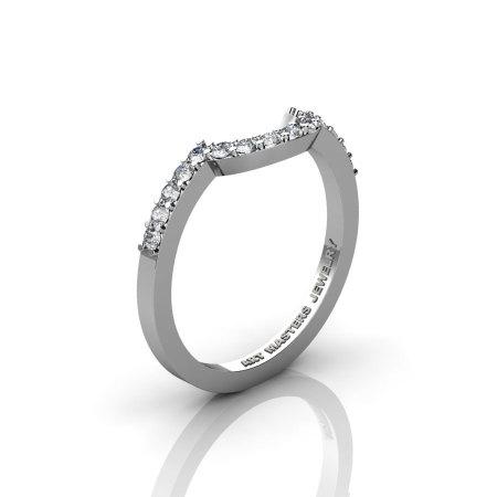 Classic Bridal 14K White Gold Diamond Flush Matching Wedding Band R408B-14KWGD-1