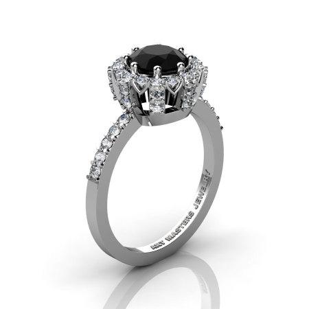 Classic Bridal 14K White Gold 1.0 Ct Onyx Diamond Solitaire Ring R408-14KWGDO-1