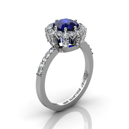Classic Bridal 14K White Gold 1.0 Ct Blue Sapphire Diamond Solitaire Ring R408-14KWGDBS-1