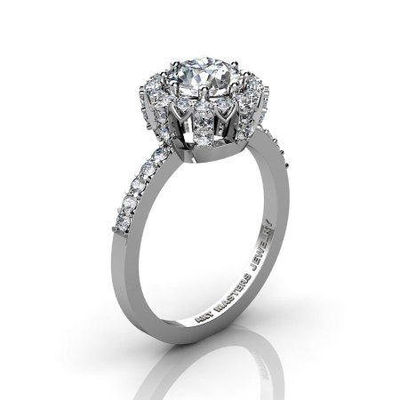 Classic Bridal 14K White Gold 1.0 Ct White Sapphire Diamond Solitaire Ring R408-14KWGDWS-1