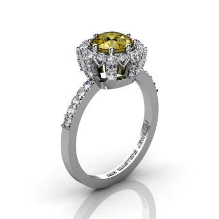 Classic Bridal 14K White Gold 1.0 Ct Yellow Sapphire Diamond Solitaire Ring R408-14KWGDYS-1
