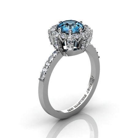 Classic Bridal 14K White Gold 1.0 Ct Aquamarine Diamond Solitaire Ring R408-14KWGDAQ-1